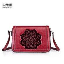 NAISIBAO 2019 New women Genuine Leather bag top Cowhide Embossed fashion luxury handbags designer shoulder
