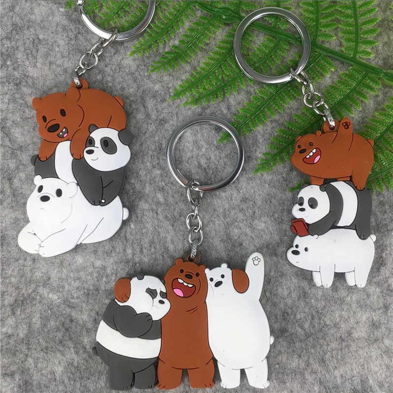 Cute We Bare Bears Keychain Cartoon Anime Pendants Acrylic Key chains For Women Kids Fashion Animal Series Trinkets For Car Key