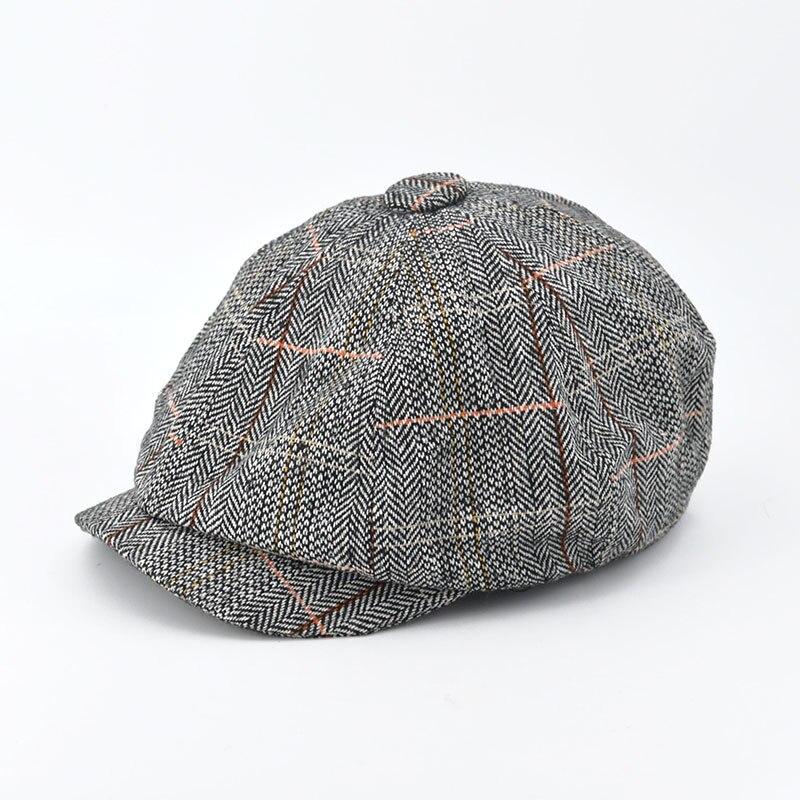 Men Beret Hat Gentleman Octagonal Cap Winter Spring Tweed Wool Newsboy Caps Plaid Man Beret 5