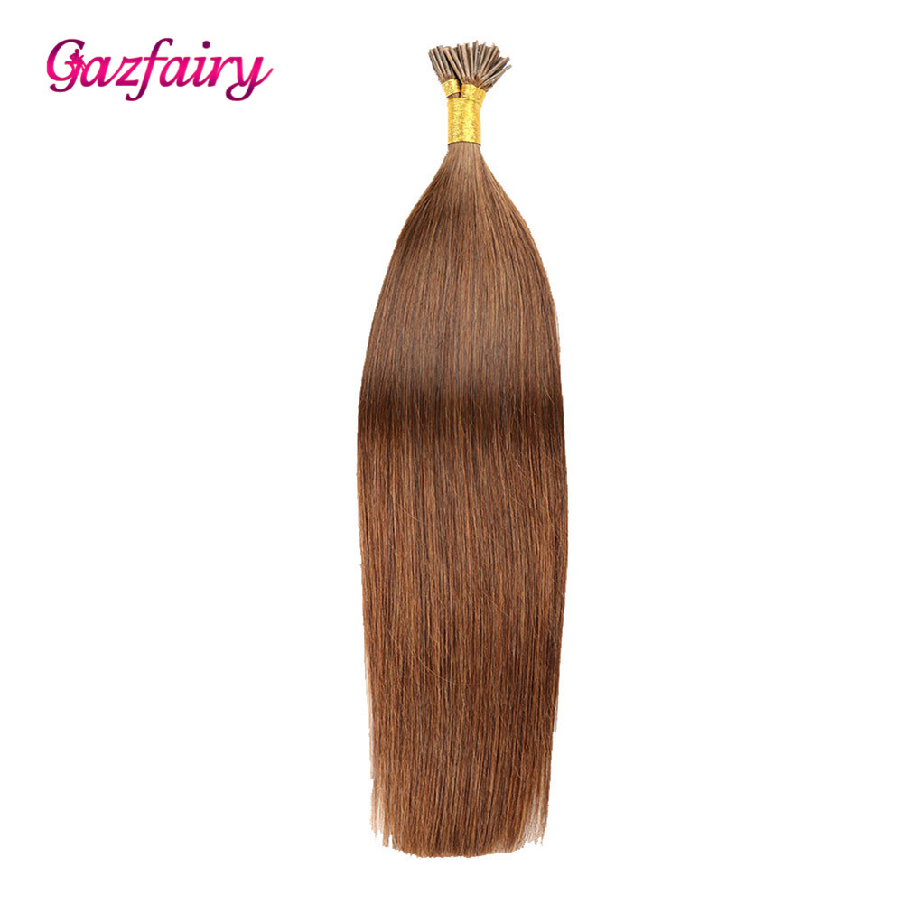 Gazfairy Silky Straight I Tip Remy Hair Keratin Capsule  Fusion Hair I Tip Pre Bonded Remy Human Hair Extension 22 Inch 1g/s 50g