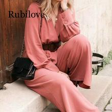 Rubilove Women Fashion Sexy V Neck Solid Jumpsuits Wide leg pants Sashes Decorate Elastic Waist pockets Rompers Female Play coffee round neck elastic waist jumpsuits