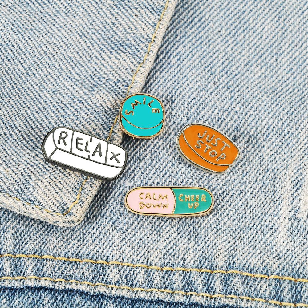 CHEER UP Energy Pill Enamel Pins Smile Relax Calm Down Medicine Doctor Nurse Brooch BackPack Shirt Lapel Pin Badge Jewelry Gift