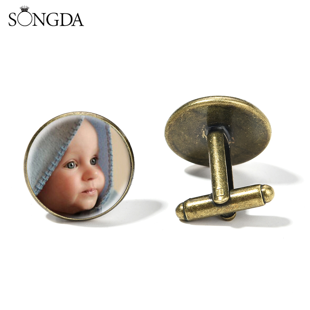 SONGDA Personalized Custom Photo Cufflinks Printed Text Picture Name Logo Glass Round Cuff Links Best Gift For Boyfriend Husband