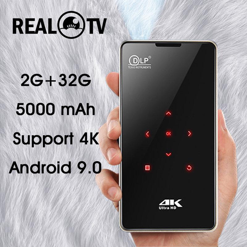 Реальный ТВ P09 Мини Портативный DLP Android проектор Поддержка 4K декодирование WiFi Bluetooth Miracast Airplay мобильный телефон открытый фильм