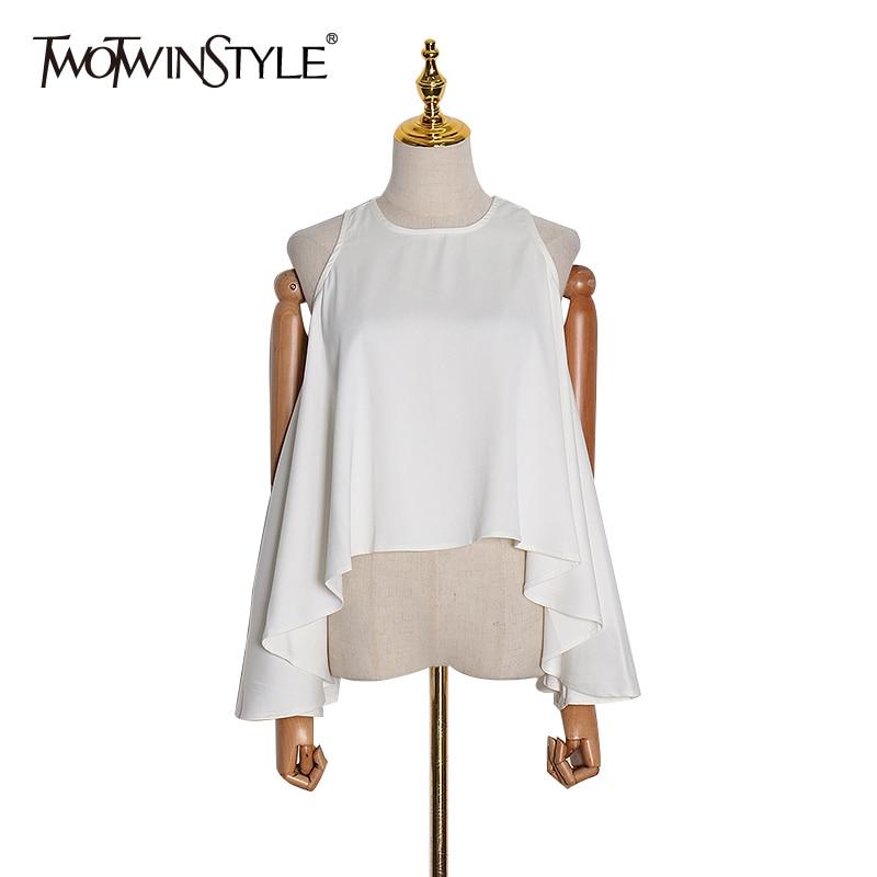TWOTWINSTYLE Casual White Women's Shirts O Neck Off Shoulder Sleeveless Irregular Hem Shirt Blouse Tops Female  Fashion New 2020