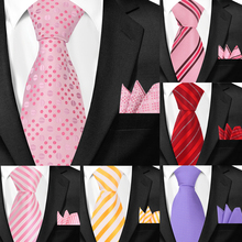 Classic Neck Ties and Pocket Square Sets for Men Casual Pais
