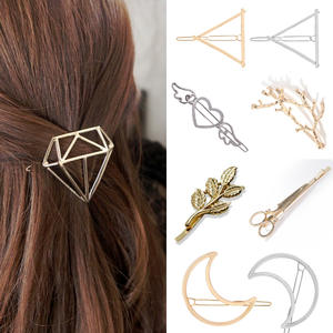 Hair Clip For Women Scissors Diamond Round Moon Leaf Unicorn Heart Simple Golden Silver