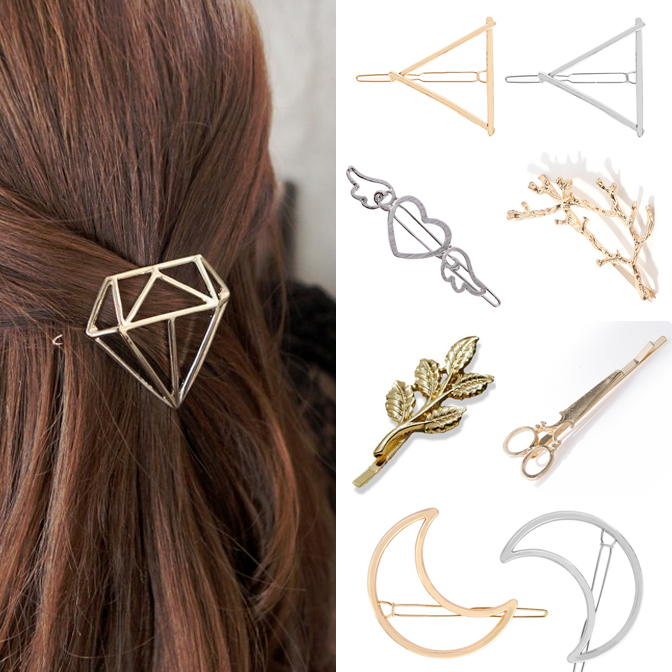 Hair Clip For Women Scissors Diamond Round Moon Leaf Unicorn Heart Simple Golden Silver Girl Fashion Gift Charm