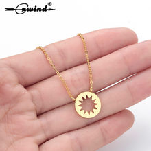 Cxwind Circle Coin Starburst Necklace Choker Pendant Charm Geometric Boho Bijoux Femme Collier Necklaces Women Chain Jewelry(China)