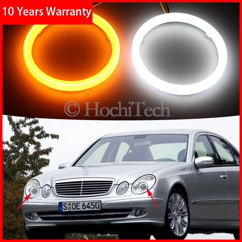 For Mercedes Benz E Class W211 E200 220 270 280 320 420 Cotton Switchback LED Dual Color Angel Eye White Amber Turn Signal Light