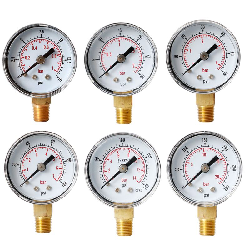 "40mm Face Pressure Gauge 1/8"" BSPT Bottom Mount 15,30,60.100,160 200, 300 PSI & Bar for Air Gas Water Fuel Liquid"