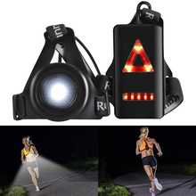 8 LED lights Outdoor Night Running Lights LED Chest Light Back Warning Light Rechargeable for Camping Hiking Jogging