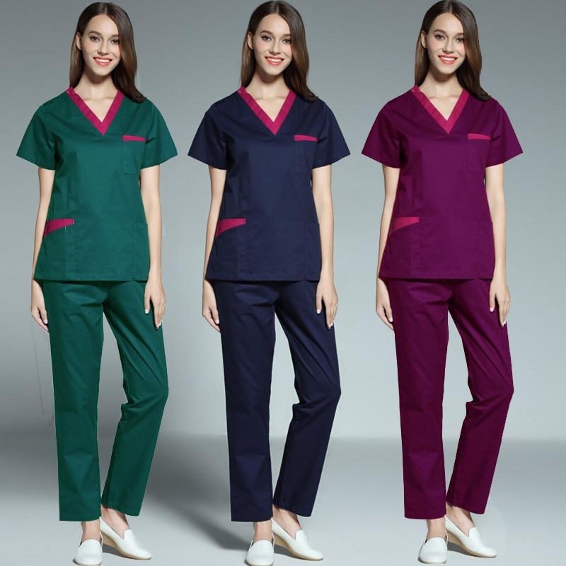 Women's Color Blocking Scrubs Set Or Scrub Top Short Sleeve V Neck Top Doctor Nurse Dentist Workwear Pure Cotton Medical Uniform
