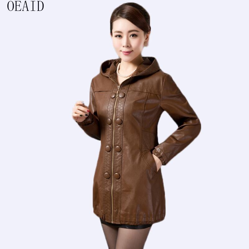 Plus Size 3XL 4XL Leather Coat Women Leather Jacket Female 2019 New Women's Leather Jackets Long Slim Ladies Coats Outerwear