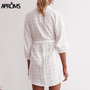 Aproms Elegant White Plaid Shirt Dress Women Autumn Half Sleeve Loose Dresses Big Size Streetwear Casual Tunic Cotton Dress 2020 1