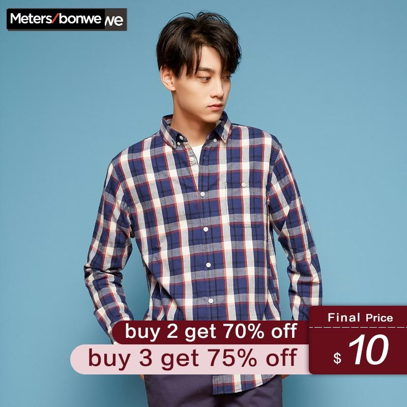 Metersbonwe  Men Long Sleeve Shirt New Winter Flannel  Flannel Classic Retro Black And White Plaid Shirt