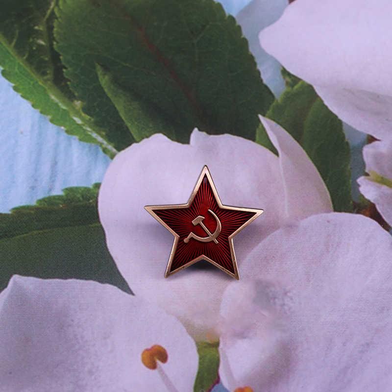 Russische UDSSR Sowjetische Rote Armee Stern Hut Pin Kappe Abzeichen Mit Sichel Hammer