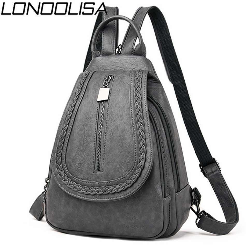 New Women Leather Travel Backpack Female Bagpack School Shoulder Chest Bags For Women 2019 Teenage Girls Back Pack Mochilas Sac