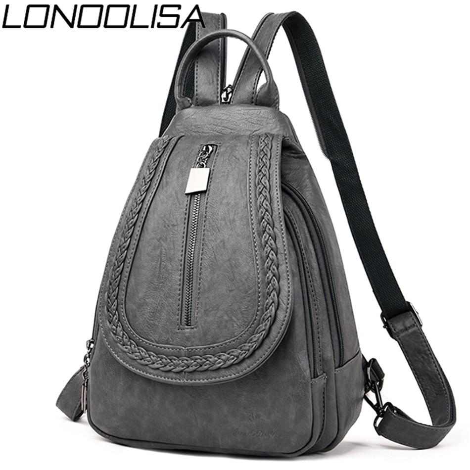 New Women Leather Travel Backpack Female Bagpack School Shoulder Chest Bags For Women 2019 Teenage Girls Back Pack Mochilas Sac
