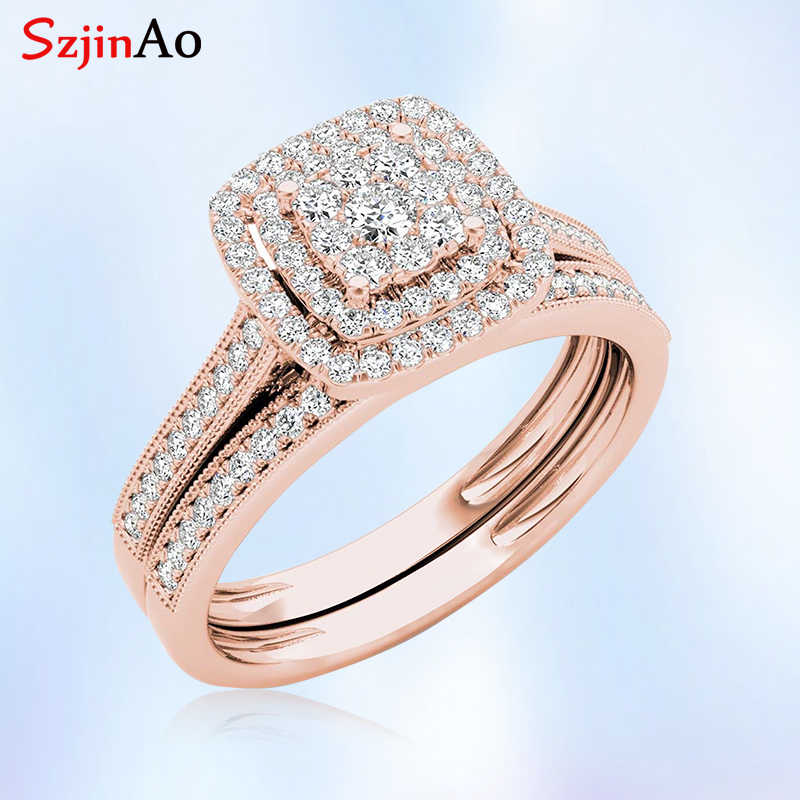 Szjinao Classic Rose Gold Color Wedding Rings for Women Men Solid 925 Sterling Silver Ring Sets Bohemia CZ Diamant Fine Jewelry