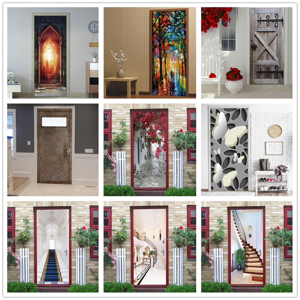 Magic Fire Stickers On The Doors PVC DIY Self-adhesive Waterproof Poster Wall Art Mural Decals Home Decoration Autocollant Porte