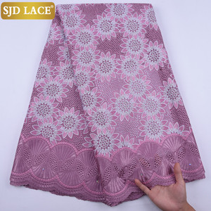 Image 5 - 5Yards Garment Material Original Swiss Voile Lace In Switzerland Eyelet African Nigerian Dry Lace Fabric For Healthy Skin A1728