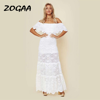 ZOGAA Women Dress Sexy Lace Off Shoulder Slash Neck White Dress Party Night Beach Dresses Elegant Summer Long Dresses 2019 women long sleeve off shoulder slash neck dress slim body con knitted sweater sexy club dress knee length party night dresses