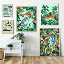 Tiger Panda Leopard Parrot Jungle Nordic Posters and Prints Wall Art Canvas Painting Wall Pictures for Living Room Home Decor