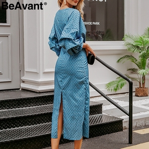 Image 5 - BeAvant Elegant Polka dot ชุดผู้หญิง V Neck โคมไฟหญิง dresses วินเทจสูงเอวสุภาพสตรี MIDI dresses vestidos