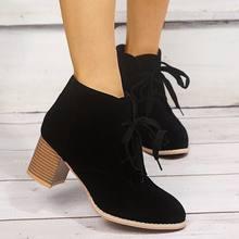 Женские ботинки на шнуровке однотонные из искусственной кожи