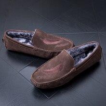 New Lazy Shoes Men Inside Fur Drive Shoes Men Comfortable Leather Man Sneakers Anti Slip Men Loafer Shoes Slip On Flats Footwear fashion men loafer shoes slip on male casual flat walking shoes trend lightweight comfortable sneakers man flats