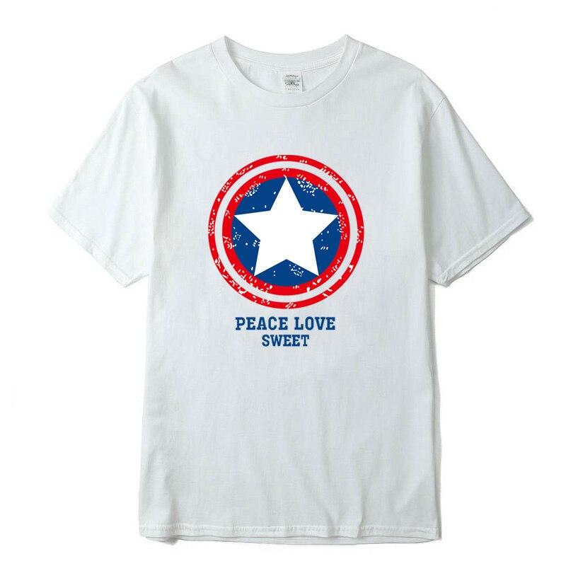 Men's Funny High Quality100%Cotton T Shirts Captain Americashield Design T-Shirt Colors Men T Shirt Fashionable T-Shirt Men