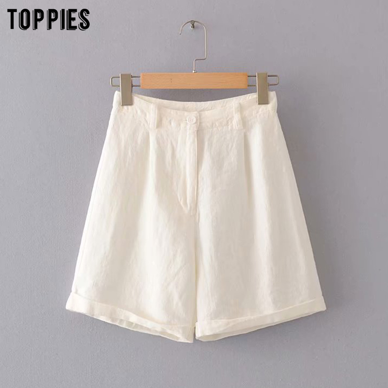 Womnes White Linen Shorts Summer Shorts High Waist Brmuda Short Pants Casual Streetwear