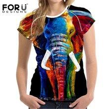 FORUDESIGNS Women T Shirts 3D Elephant Printed Short Sleeve Shirts Female Harajuku Brand Colorful Tee Ladies T-shirt Camisetas женская футболка 3d 2015 t emoji t camisetas flowers