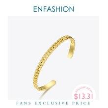 Enfashion punk link corrente manguito pulseiras pulseiras para mulheres cor do ouro aço inoxidável pulseira moda jóias b192035