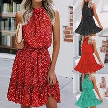 Moda de alta qualidade vestido feminino floral impresso halter strapless plissado bandagem feminino casual chiffon férias praia vestido