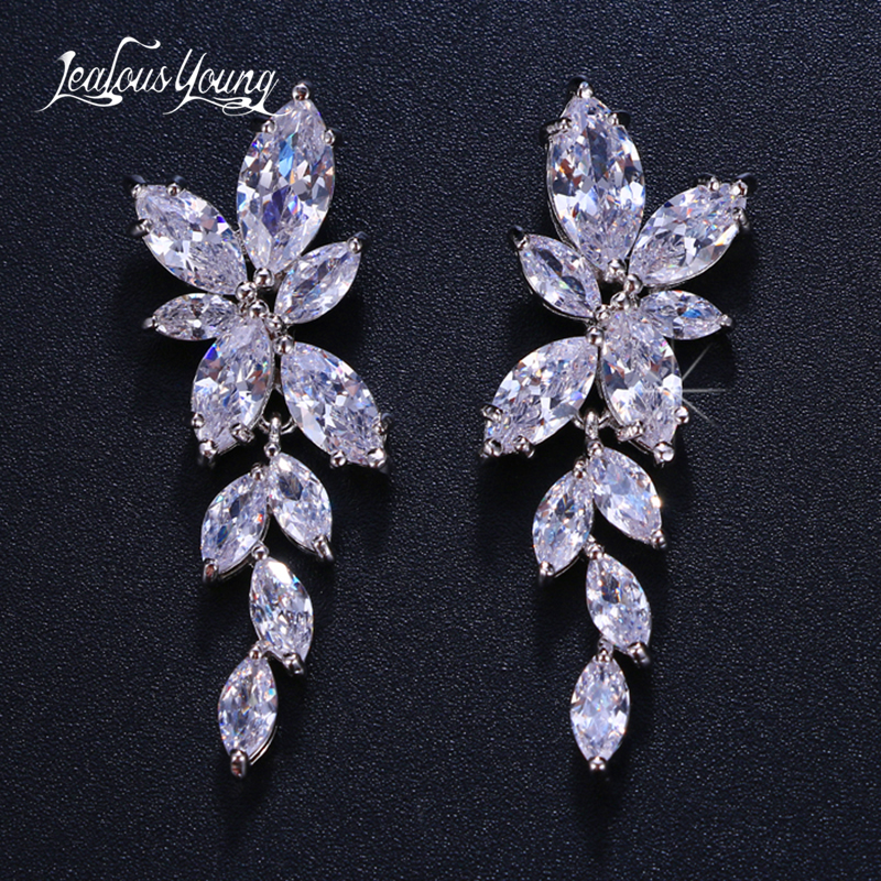 2018 Fashion Leaf Zircon Drop Earrings for Women White Gold Color Crystal Wedding Earrings Bridal Jewelry Gift brinco