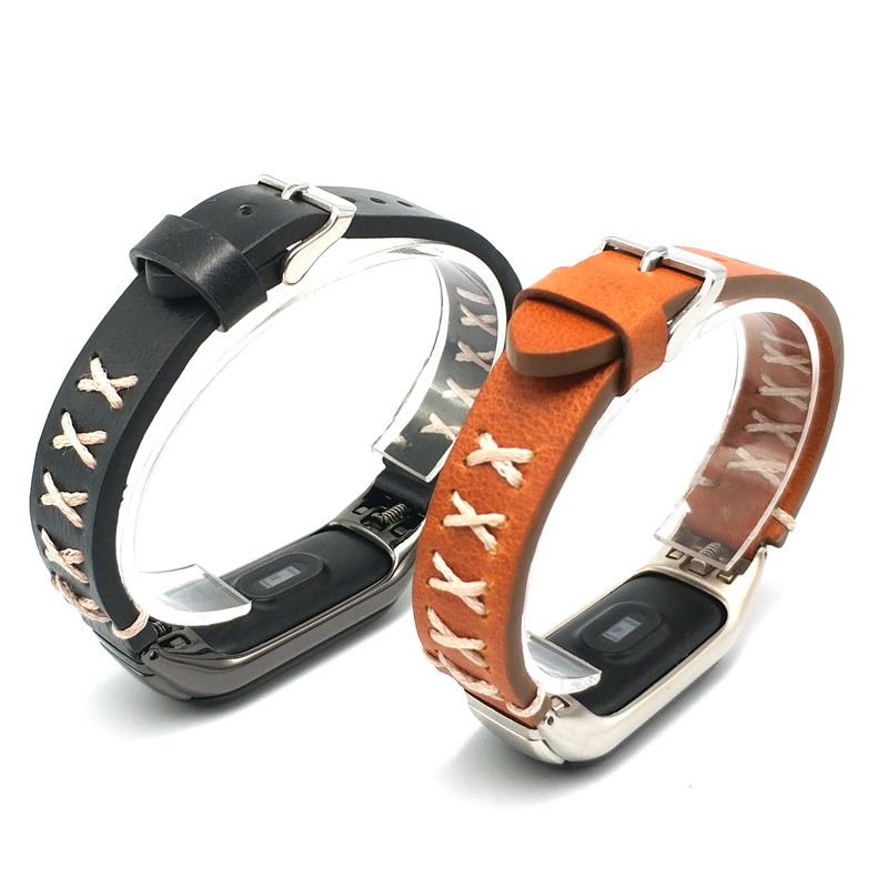 Leather Strap For <font><b>Xiaomi</b></font> <font><b>Mi</b></font> <font><b>Band</b></font> Accessories Bracelet Wrist <font><b>Band</b></font> For <font><b>Xiaomi</b></font> Miband <font><b>4</b></font> 3 Ventage Genuine Leather <font><b>Relogio</b></font> <font><b>Mi</b></font> <font><b>Band</b></font> <font><b>4</b></font> image