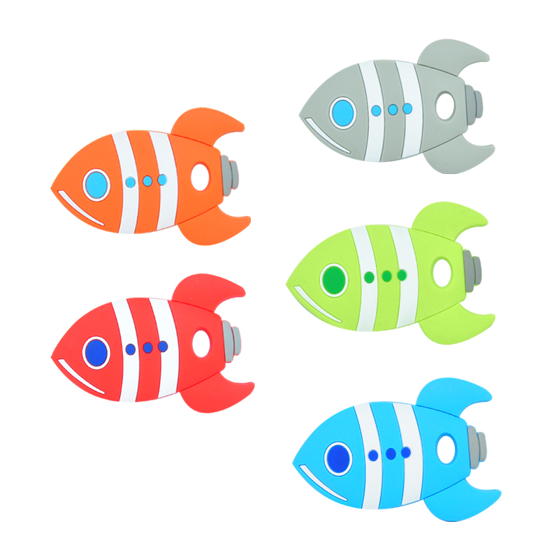 10PCS Baby Teething Beads Silicone Rocket Fish Beads BPA Free Food Grade Silicone Teether DIY Teething Necklace Toy
