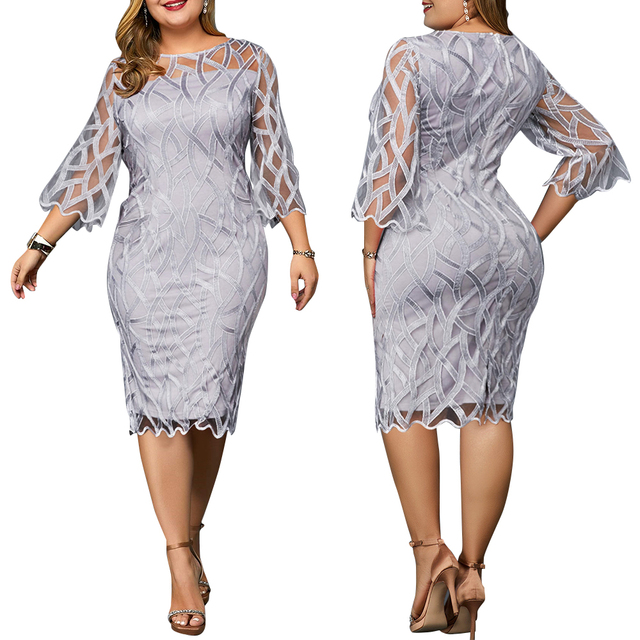 6XL Elegant Women Dress Plus Size Transparent Seven Sleeve Party Dress Autumn Ladies Knee-Length Dress Fall Retro vestidos D30 4