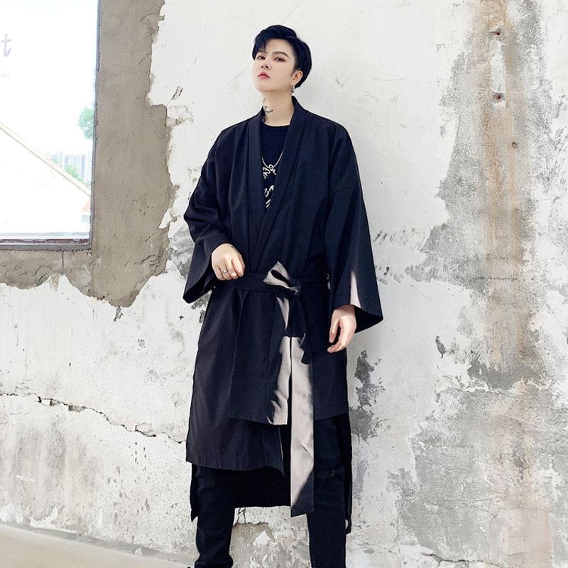 Male Streetwear Hip Hop Windbreaker   Trench   Coat Men Asymmetric Design Loose Casual Japan Kimono Cardigan   Trench   Jacket