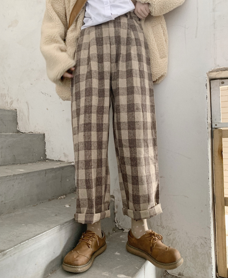 Japanese Autumn & Winter Women Vintag Harajuku Loose Casual Pants Soft Sister Wool Plaid Straight Pants Girls Student Trousers