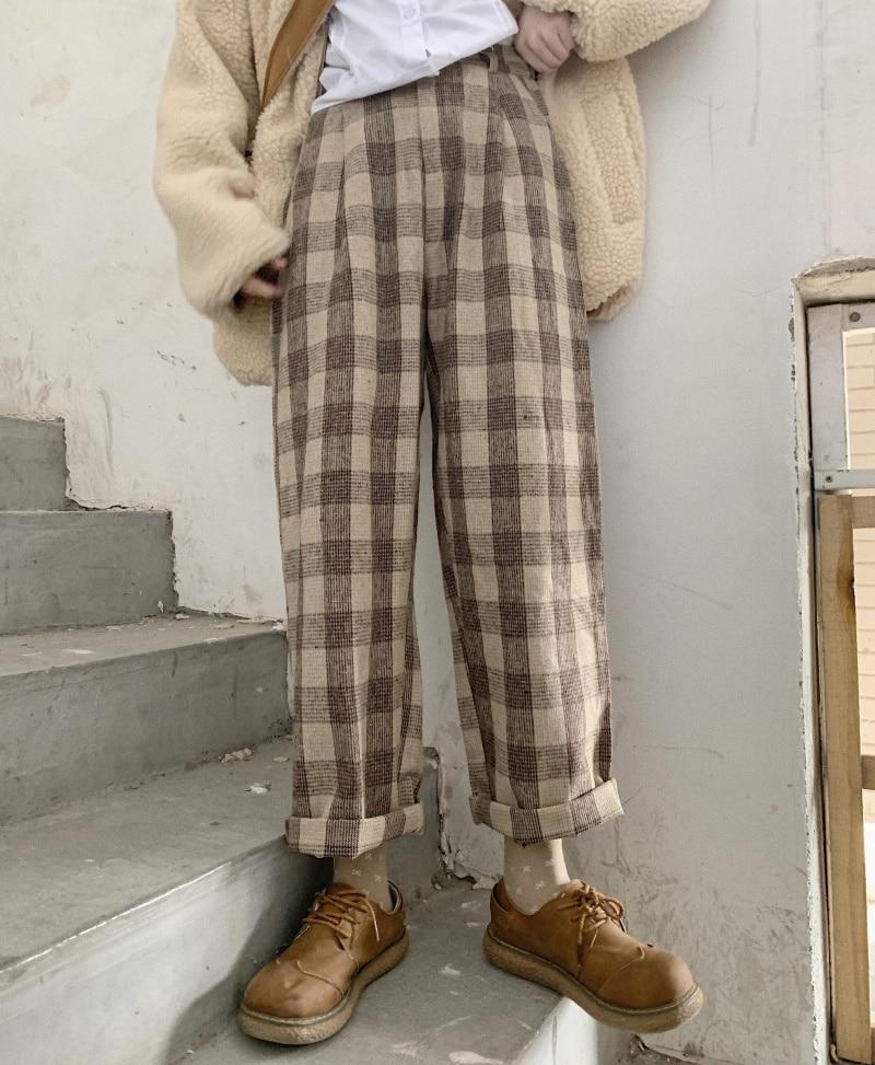 Japanese Autumn & Winter Women Vintag Harajuku Loose Casual Pants Soft Sister Wool Plaid Straight Pants Girls Student Trousers