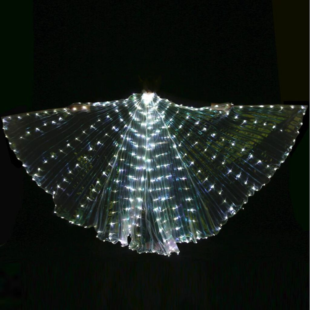 LED Isis Wings Glow Light Up Belly Dance Costumes With Sticks Performance