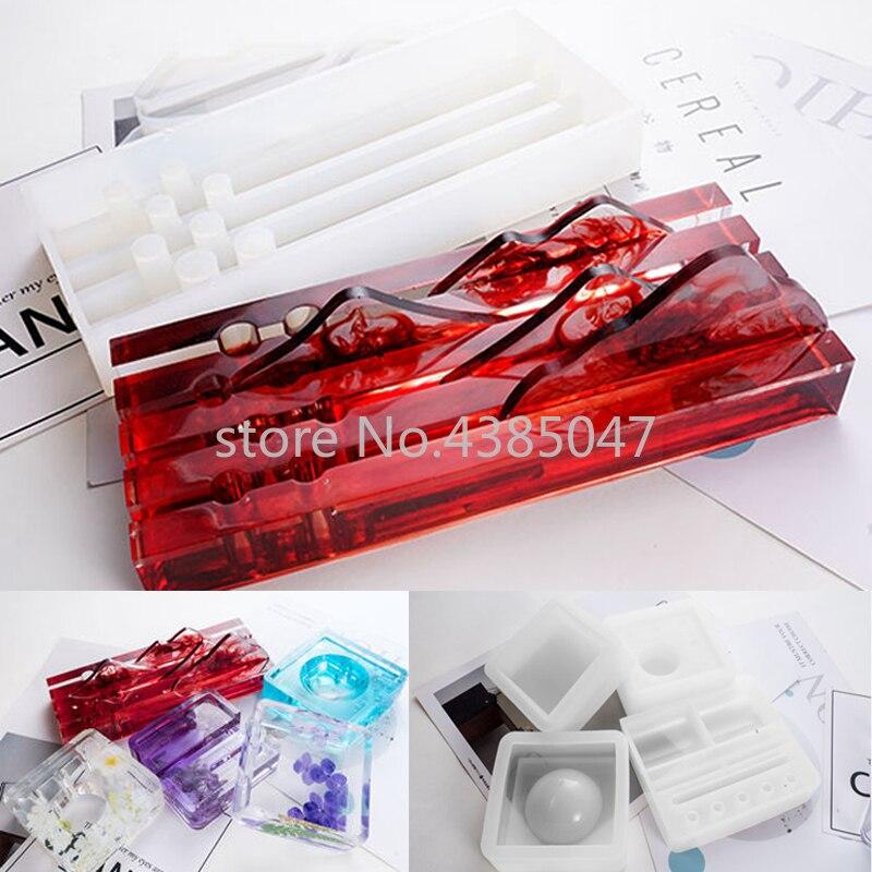 Pen Holder Ashtray Storage Box UV Resin Epoxy Jewelry Mold Card Jewelry Tools Accessories