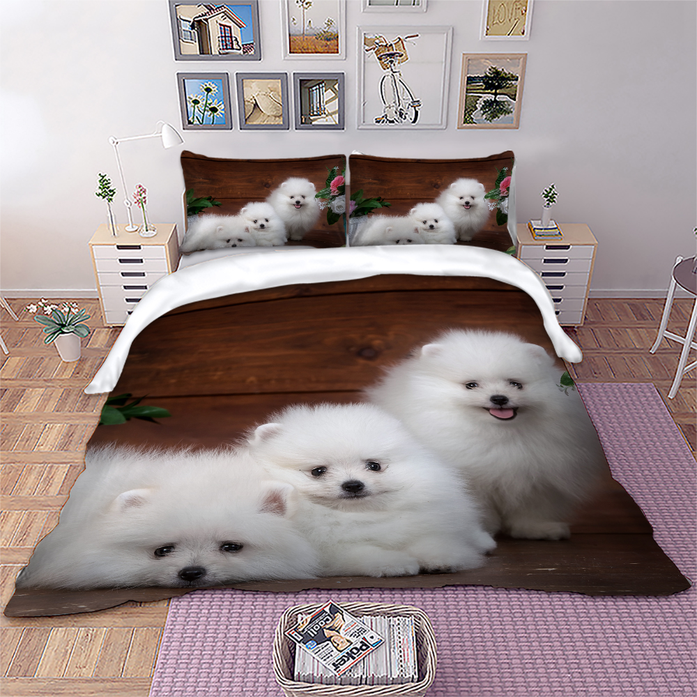 3D Dog Animal Bedding Set Cute Samoyed Duvet Cover Twin Full Queen King Size Bedlinen Home Textiles