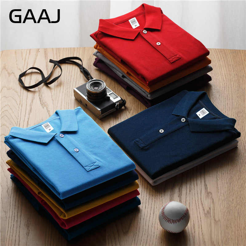GAAJ Brand Polo Mens Shirt For Men Women Collar 3XL Plus Size 100 Cotton Short Solid Clothes Wine Grey Red Pink Green US Polos