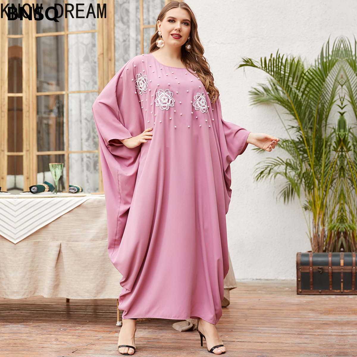 Saber sonho das mulheres vestidos formais tamanho grande solto rosa grânulo bordado manga robe vestido de manga comprida roupas femininas