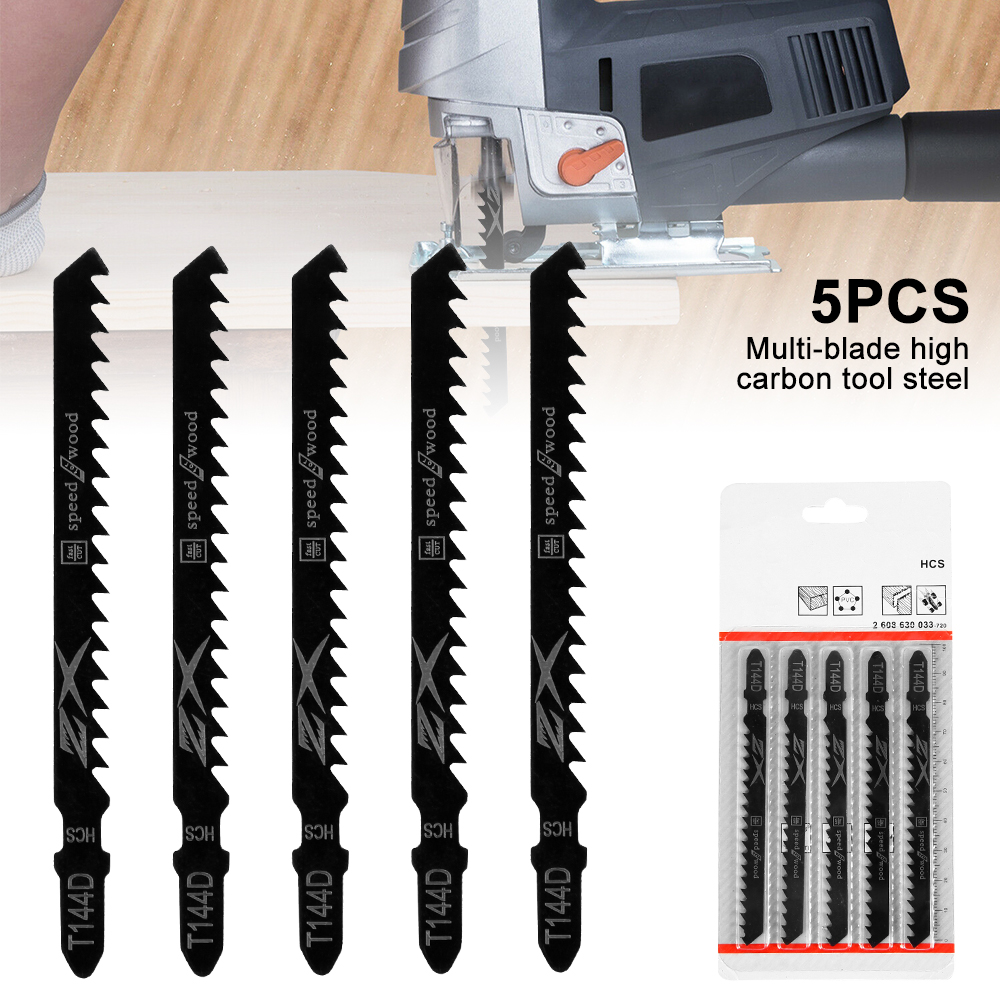 5pcs T-Shank Jigsaw Blades Curve Cutting Tool Kits For Wood Plastic Thick Teeth Woodworking Reciprocating