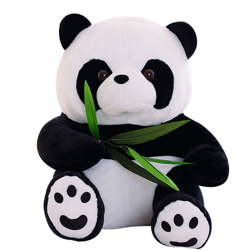9-20cm Vivid Funny Panda With Bamboo Leaves Plush Toys Birthday Gift Soft Cartoon Animal Stuffed Animals Pendant Doll Kids Gifts